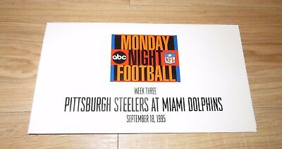 Abc Monday Night Football Pittsburgh Steelers Miami Dolphins Promotional 1995