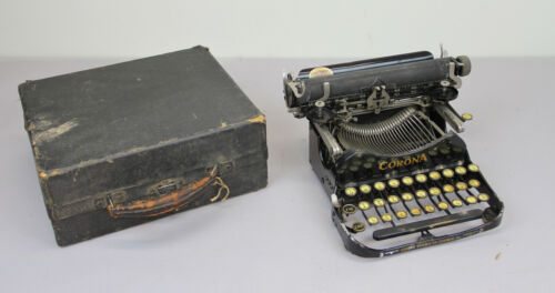 ANTIQUE CORONA TYPEWRITER FOLDING MODEL 3 CASE 1910