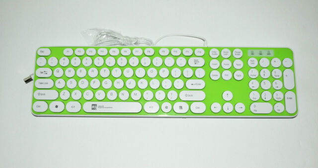 Non-Slip style Green Wired USB Smart Chocolate Keyboard Windows 7 8 98/ 2000/XP/