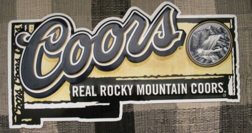 A73 - COORS REAL ROCKY MOUNTAIN COORS BEER STAMPED METAL TIN BEER ADVERTISING