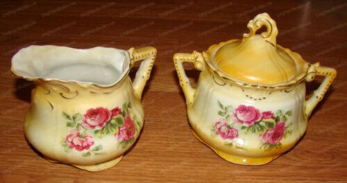 Antique Hand-painted Cream & Lidded Sugar Dish (3-pieces) Austria, 1880