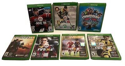 Lot Of 7 Xbox One Video Games Titanfall, FIFA 14, 16, 17 NHL 15, 18 + Skylanders