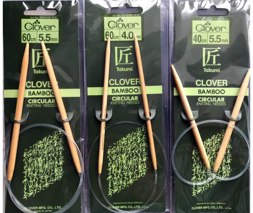 Clover Bambù Circolare da Magli Ferri 2 Taglie 4.0mm 5.5mm 2 Lunghezze 40cm 60cm