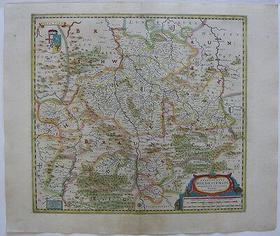 Hildesheim altkolor Kupferstichkarte Janssonius 1640 Niedersachsen