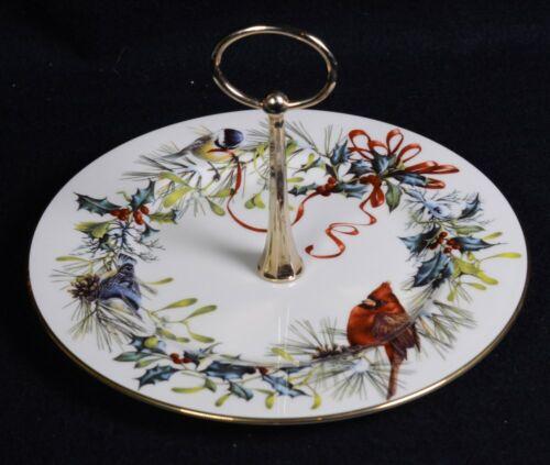 "Vintage LENOX ""Winter Greetings"" Cardinal Ribbon TIDBIT Dessert COOKIE Plate 8""D"
