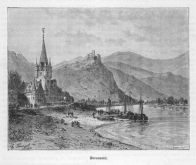 Berncastel-Kues an der Mosel, Original-Holzstich von Clerget von 1888