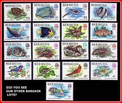 - BERMUDA 1978 BIRDS & ANIMALS SC#363-79 MNH CV$30.00 FISH, WHALES, TURTLE, INSECT