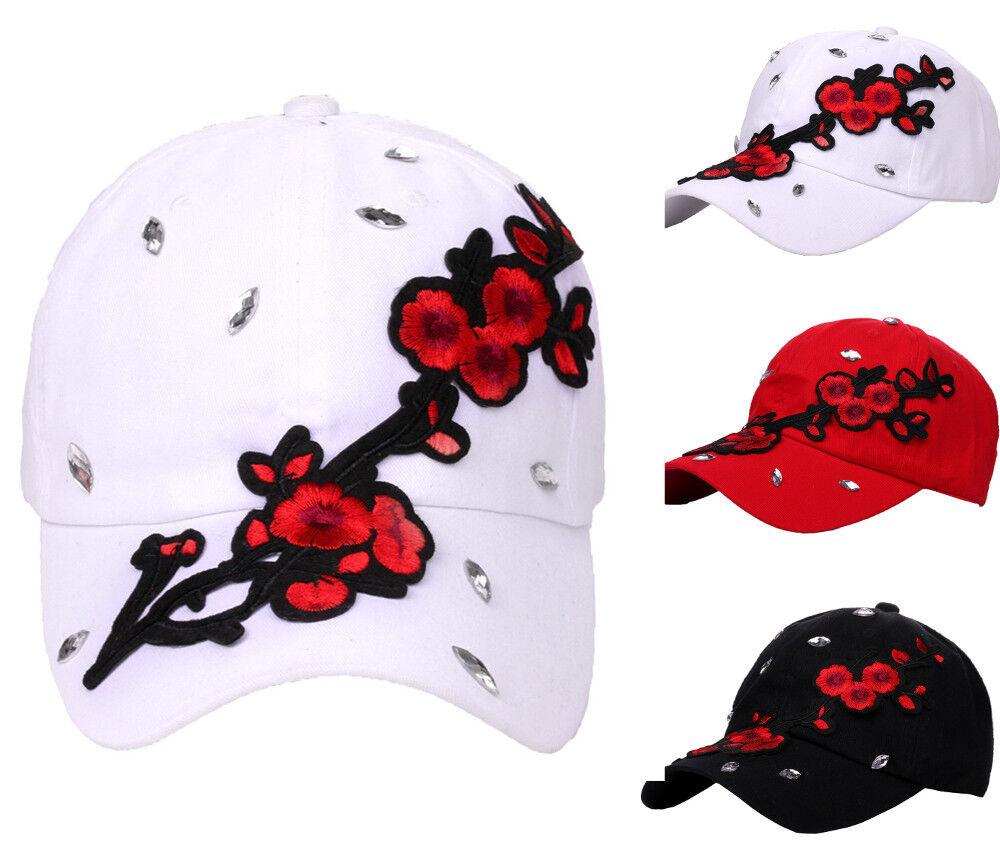 Mütze Damen Kappe Basecap Baseball Cap mit Strasssteinen Glitzer Deko-Blumen