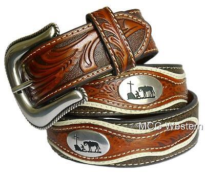 Nocona Western Mens Belt Leather Tooled Cowboy Prayer Concho Brown N2501208