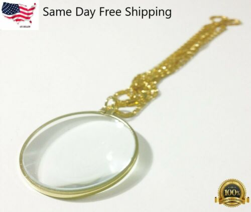 """Pocket Lens Magnifier Monocle Jewelry + 36"""" Long Gold Chain Necklace GIFT IDEA"""
