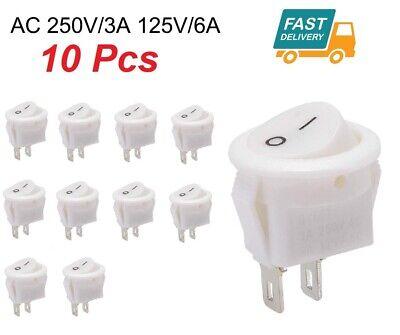 10 Pcs Mini Round Rocker Switch Toggle 3a 250v 6a 125v Ac 2 Pin Onoff White