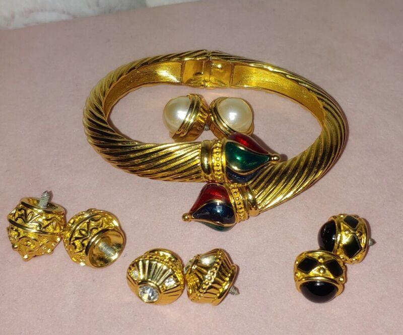 Joan Rivers Vtg Byzantine Etruscan Interchangeable Twisted Cuff Bracelet