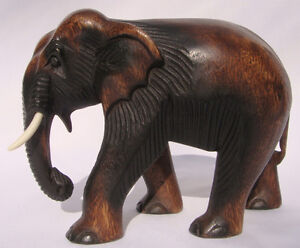 Hand Carved Thai Wooden Elephant Brand New 20cm Size