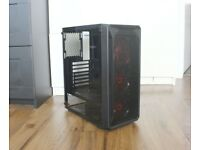 Gaming PC case Tempered Glass Side Panel, 3 red fans