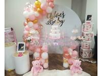 Cake Table Baby Shower Balloon Arch Birthday Circular Backdrop Baby Blocks -Bouncy Castle -Soft Play