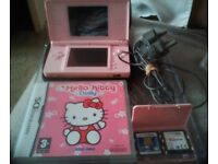 Pink Nintendo DS Lite games Console Bundle with three games and a case