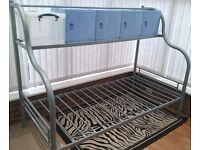 Single Bed Frame w/Over Head Storage and Boxes, Silver, Mint Condition 'As New', Never Used