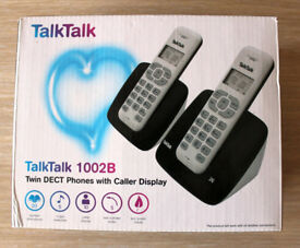 BNIB TalkTalk 1002B Twin DECT Cordless Phones with Caller ID Display