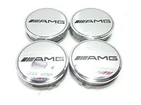 Mercedes Benz set of 4 Chrome AMG Alloy Wheel Center Caps 75 mm