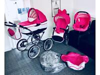 beautifull white and pink travel system 3 in 1