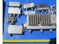 Cable TV Components: job lot of many amplifiers, splitters, isolators, filters etc