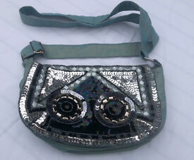 Gorgeous ladies Per Una handbag / evening bag – irridescent pale teal with sequined front.