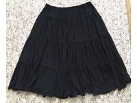 Next Black Tiered Midi Skirt UK Size 8, paypal accept