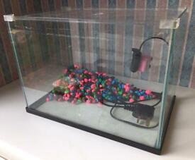 Glass Fish Tank Aquarium With Small Pump & Stones 36cm Long X 23cm Deep X 26cm H