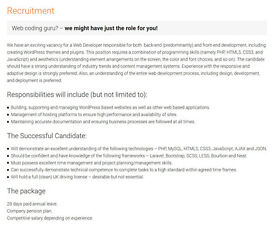 Web Coding Guru - We have an exciting vacancy for a Web Developer