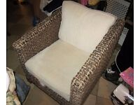 Large basket weave arm chair for sale excellent condition