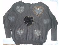 Charcoal Ladies Jumper With Hearts & Embellishments Design - Size 14 Very Good Condition