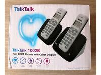 BNIB TalkTalk 1002B Twin DECT Cordless Phones with Caller ID Display