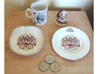 Royal Memorabilia - Charles & Diana 1981 Wedding 2 Plates, 1 Pot Pourri Holder, 1 Mug and 3 Coins