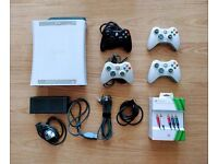 Xbox 360 250gb console - v. good condition, 20+ great games, 4 controllers, HDMI & Component cables