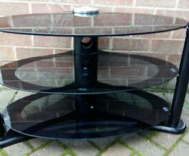 TV stand. Black glass. 3 shelves