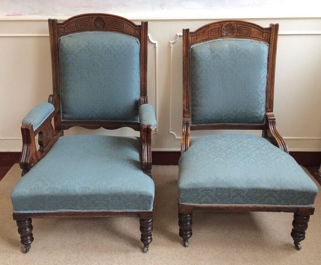 2 Antique Victorian Ladies Gents Library Throne Salon Chairs Blue Satin  Damask - 2 Antique Victorian Ladies Gents Library Throne Salon Chairs Blue