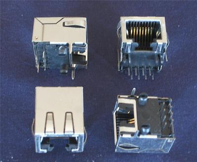 RJ45 8 PIN JACK RIGHT ANGLE PCB CONNECTOR ( Qty 25 ) *** NEW ***