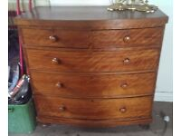 Beautiful Antique Figured Satinwood Bow Fronted Chest of Drawers