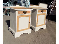 Pair Pine Cream Bedside Tables
