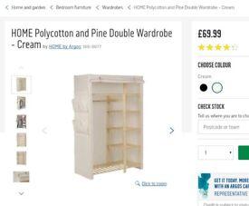 Argos Pine Double Wardrobe ono