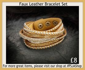 Faux Leather Bracelet Set