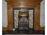 Living flame gas fire and with full Oak Surrond