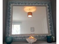 Large ornate mirror in teal and duck egg blue