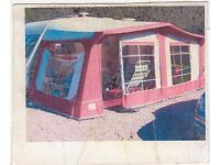 PYRAMID TUSCANY CARAVAN AWNING - RED - GOOD CONDITION - SIZE 10 (875-900)