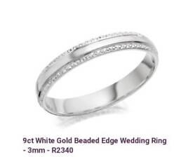18ct white gold five stone diamond ring 1/2ct , 9ct white gold beaded edge wedding ring, both size J