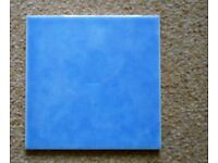 62 blue BCT ceramic tiles. 6inch/15cm square