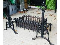 Cast iron fire basket and fire dogs