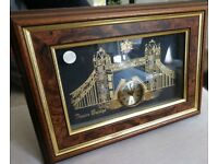 London Tower Bridge Wall Clock - Hand Made from Clocks & Watches - Wood Box Frame [keeps time well]