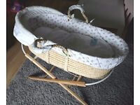 BABY MOSES BASKET WITH STAND MARKS AND SPENCERS £10