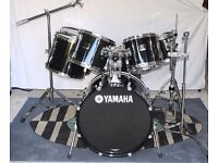 Yamaha black 7 shell stage custom drum kit